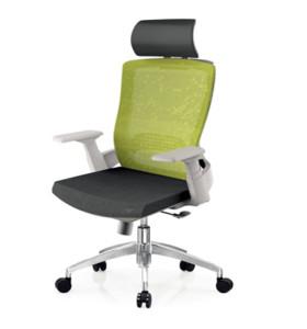 Chaise de bureau en maille à dossier haut avec base en aluminium, accoudoir en PP, appui-tête réglable (YF-A32-blanc)