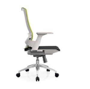 Silla operativa de malla para oficina central con respaldo de PP y apoyabrazos blanco, y base de aluminio (YF-B32-White)