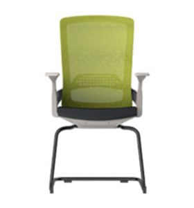 Middle Back Office Meeting Chair with 50D mould sponge, Metal frame,White PP armrest (YF-D32-White)