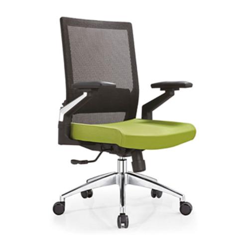 Silla de trabajo de oficina de malla con respaldo medio con soporte lumbar, base de aluminio y apoyabrazos de nailon (YF-B08)
