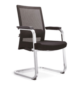 Black Middle Back Mesh Office Meeting Chair with Korea non-metallic skin-friendly fabric(YF-C08)