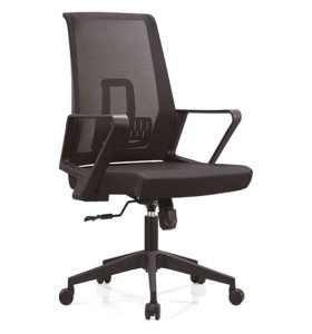 Chaise pivotante de bureau en maille à dossier moyen avec cadre arrière en PP, accoudoirs en PP et base en nylon (YF-B12)