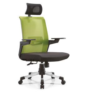 Chaise de bureau en maille à dossier haut avec base en nylon et accoudoir en PP, appui-tête réglable (YF-A13)