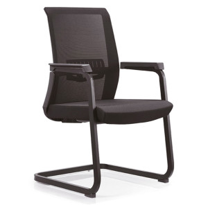 Wholesale Black Middle Back Mesh Office Chair with painting base and PP armrest(YF-C13)