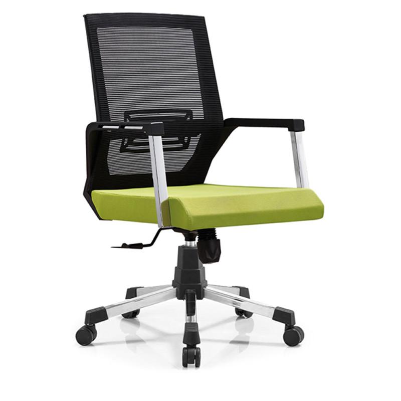 Chaise de bureau en maille à dossier moyen avec structure de dossier et accoudoir en PP, base chromée (YF-B06)