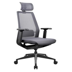 Silla ejecutiva de malla para oficina con respaldo alto, base de aluminio, reposacabezas ajustable y reposabrazos de PU (YF-A008)