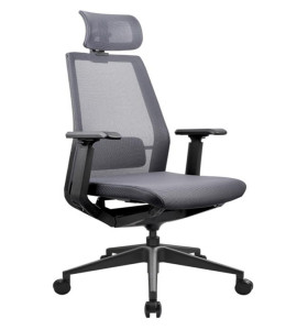 High Back office Mesh Executive Chair with Aluminum Base,adjustable headrest and PU Armrest(YF-A008)