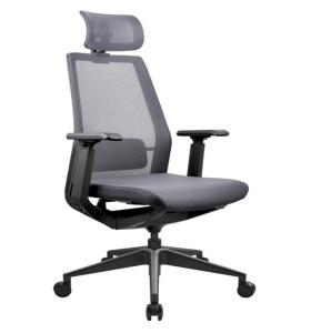 Chaise de direction en maille de bureau à haut dossier avec base en aluminium, appui-tête réglable et accoudoir en PU (YF-A008)