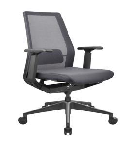 Chaise de bureau central en maille avec base en aluminium, appui-tête réglable et accoudoir en PU (YF-B008)