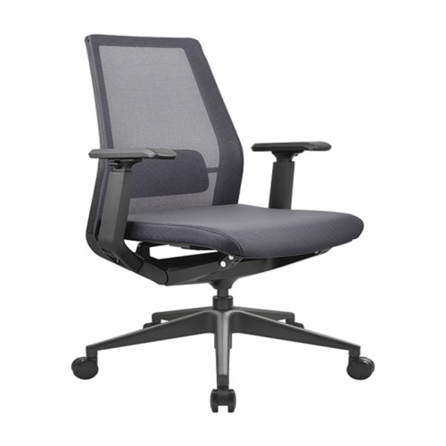 Silla de malla de oficina con respaldo medio con base de aluminio, reposacabezas ajustable y reposabrazos de PU (YF-B008)