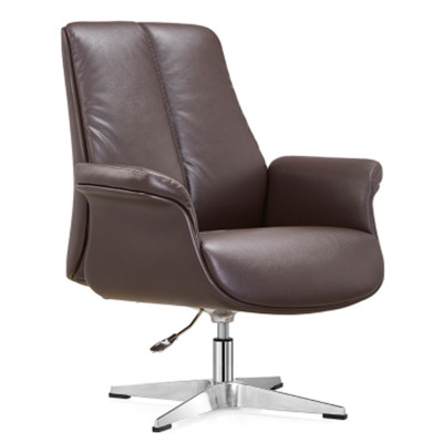 Mid-back Leather Executive Office Swivel Chair with aluminum base (YF-C28)
