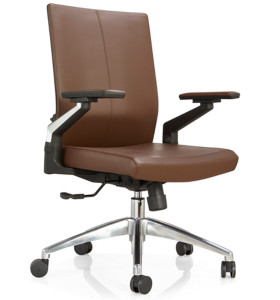 Middle Back PU/Leather Office Executive Chair,Nylon Armrest,chrome base(YF-B09)