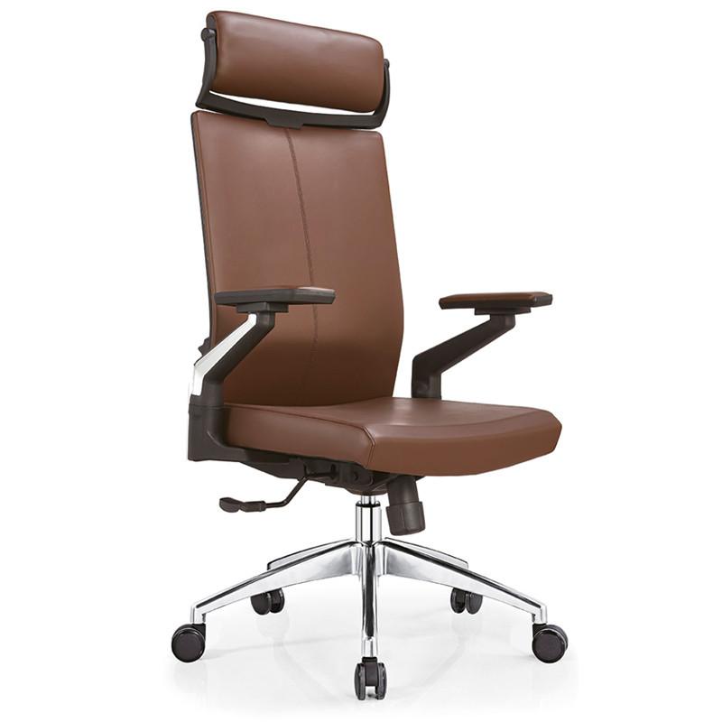 Leather Swivel  Executive Office Chair With Headrest, nylon armrest, aluminum base (YF-A09)