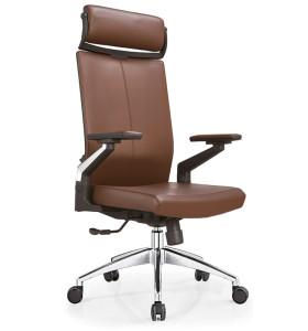 Wholesale Leather Swivel  Executive Office Chair With Headrest, nylon armrest, aluminum base (YF-A09)