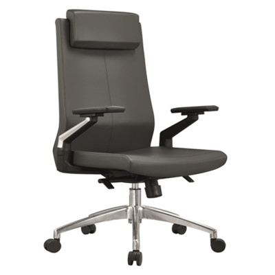 Leather Swivel  Executive Office Chair, Headrest, Nylon armrest, Aluminum base (YF-A05)