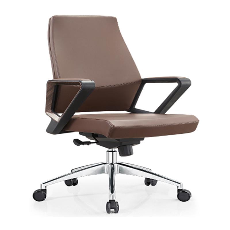 Middle Back PU/Leather Office Executive Chair,Nylon Armrest,chrome base(YF-B18)