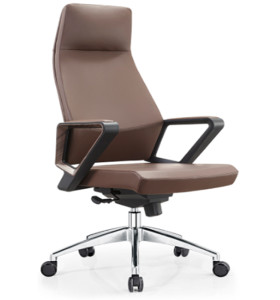 Wholesale Leather Swivel  Executive Office Chair,headrest, nylon armrest, aluminum base (YF-A18)