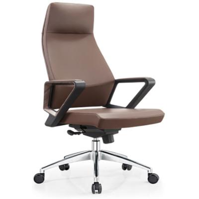 Leather Swivel  Executive Office Chair With Headrest, nylon armrest, aluminum base (YF-A18)