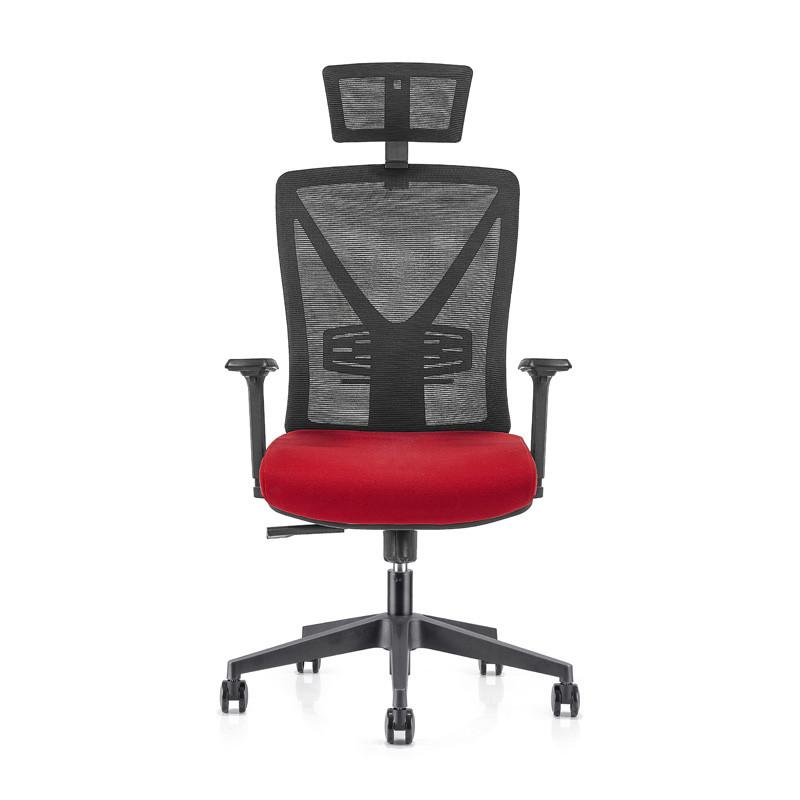 Chaise de direction en maille de bureau à dossier haut avec base en nylon de 340 mm, accoudoir et appui-tête réglables en hauteur en PU (YF-GA04)