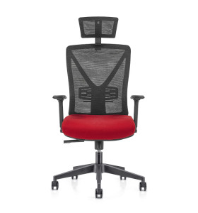 High Back office Mesh Executive Chair with 340mm nylon base,PU height adjustable Armrest and headrest(YF-GA04)