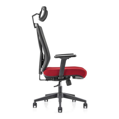 Silla ejecutiva de malla de oficina con respaldo alto con base de nailon de 340 mm, reposabrazos y reposacabezas de PU de altura ajustable (YF-GA04)