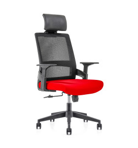 Chaise de bureau en maille à dossier haut avec base en nylon de 320 mm, accoudoir en PP, appui-tête réglable en hauteur (YF-GA07)