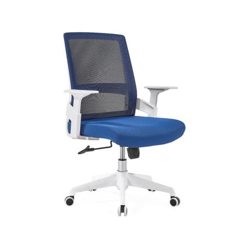 Silla de malla de oficina con respaldo medio con base de nailon de 320 mm, reposabrazos de PP, marco blanco (YF-GB07-White)