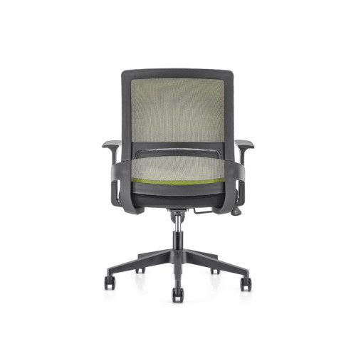 Silla de malla verde para oficina con respaldo medio con base de nailon de 320 mm, reposabrazos de PP (YF-GB07-Green)