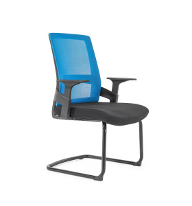 Middle Back Mesh Office Visit Chair With Frosted Base, PP Armrest(YF-GC07)