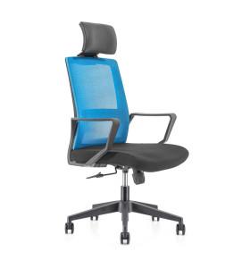 Chaise de direction en maille de bureau à haut dossier avec base en nylon, accoudoir en PP, appui-tête réglable en hauteur (YF-GA08)