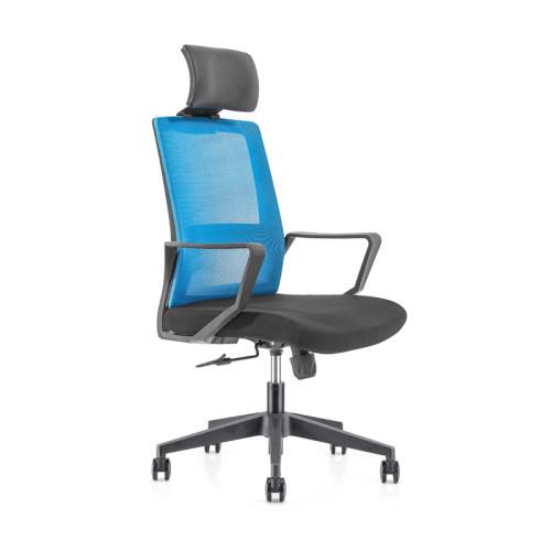 Silla ejecutiva de malla para oficina con respaldo alto con base de nailon, reposabrazos de PP, reposacabezas de altura ajustable (YF-GA08)