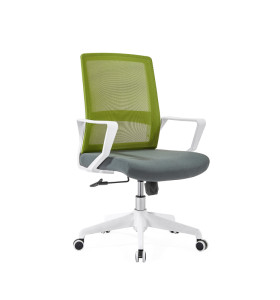Middle Back office Mesh Chair with 320mm nylon base,PP Armrest,White Frame(YF-GB08-White)