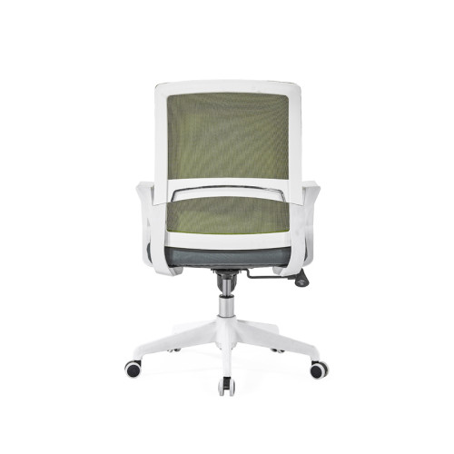 Silla de malla de oficina con respaldo medio con base de nailon de 320 mm, reposabrazos de PP, marco blanco (YF-GB08-White)