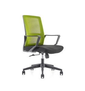 Middle Back office Mesh Chair with 320mm nylon base,PP Armrest(YF-GB08-Green)
