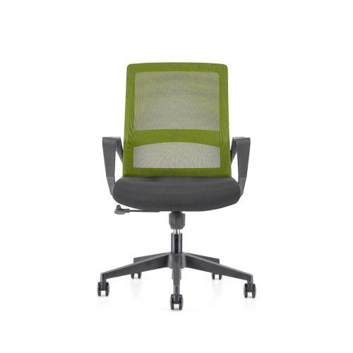 Silla de malla verde para oficina con respaldo medio con base de nailon de 320 mm, reposabrazos de PP (YF-GB08-Green)