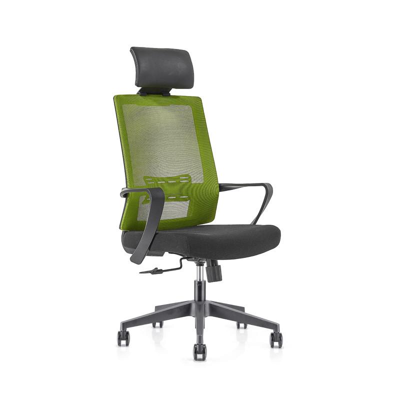 Chaise de direction en maille à dossier haut avec base en nylon, accoudoir en PP, appui-tête réglable en hauteur (YF-GA09)