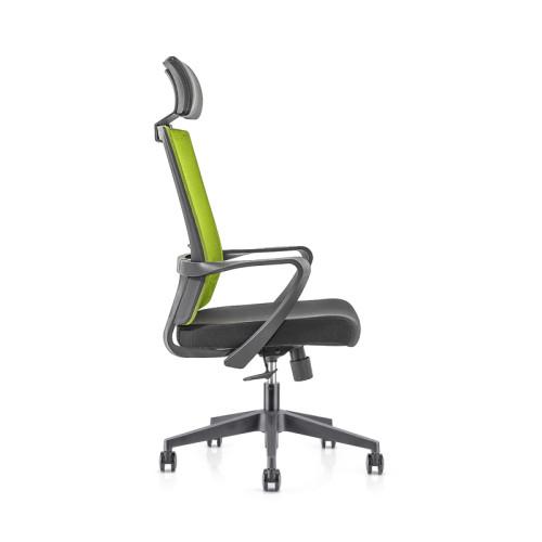 Silla ejecutiva de malla para oficina con respaldo alto con base de nailon, reposabrazos de PP, reposacabezas de altura ajustable (YF-GA09)