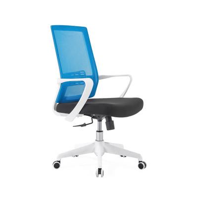 Chaise de bureau central en filet avec base en nylon de 320 mm, accoudoir en PP, cadre blanc (YF-GB09-blanc)