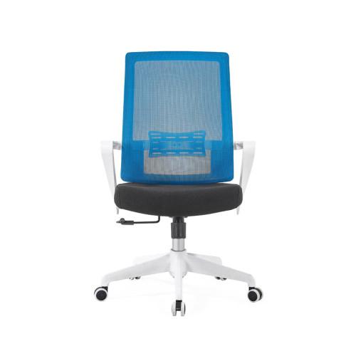 Silla de malla de oficina con respaldo medio con base de nailon de 320 mm, reposabrazos de PP, estructura blanca (YF-GB09-White)
