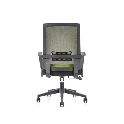 Silla de malla verde para oficina con respaldo medio con base de nailon de 320 mm, reposabrazos de PP (YF-GB09-Green)