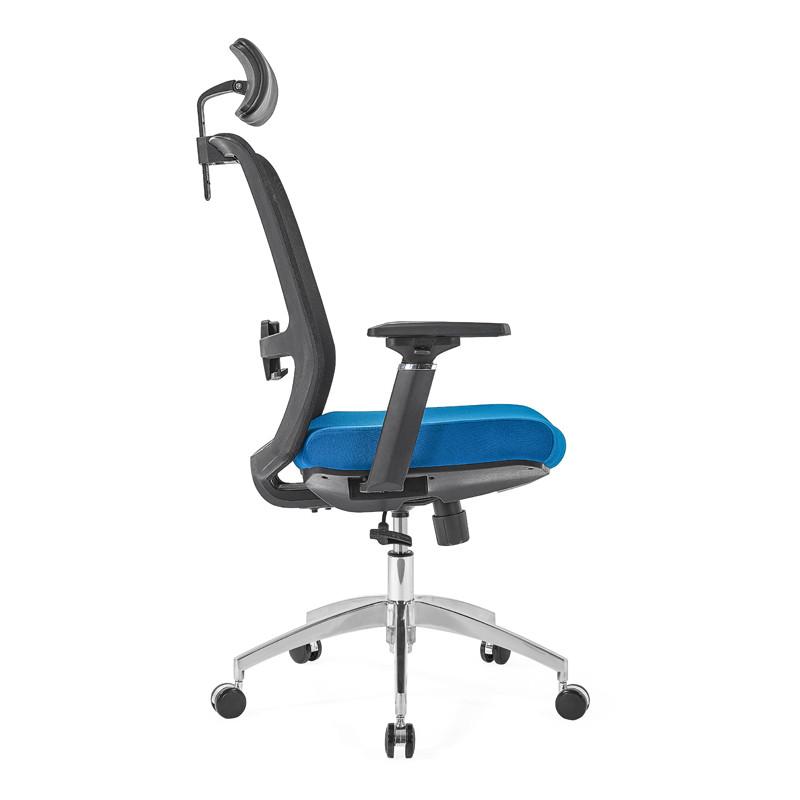 Chaise de direction en maille à dossier haut avec base en aluminium de 350 mm, accoudoir 4D, appui-tête réglable en hauteur (YF-GA10)