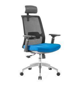 Chaise de bureau en maille à dossier haut avec base en aluminium, accoudoir 4D, appui-tête réglable en hauteur (YF-GA10-Blue)