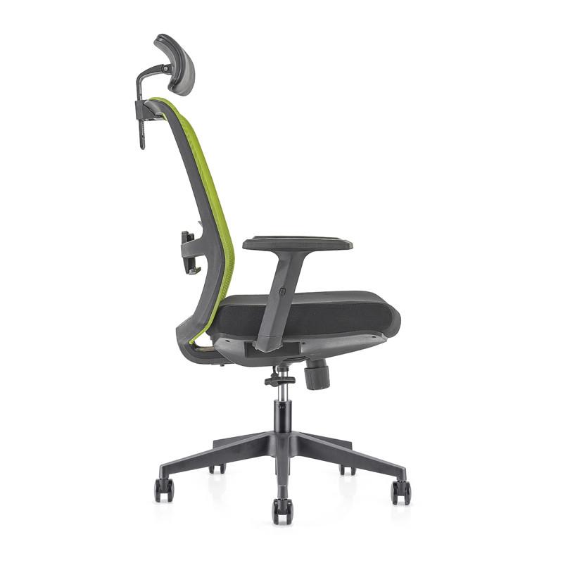 Chaise de direction en maille de bureau à dossier haut avec base en nylon, accoudoir en PU, appui-tête réglable en hauteur (YF-GA09-Green)