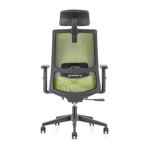 Silla ejecutiva de malla para oficina con respaldo alto con base de nailon, reposabrazos de PU, reposacabezas de altura ajustable (YF-GA10-Green)