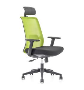 Chaise de bureau en maille à dossier haut avec base en nylon, accoudoir en PU, appui-tête réglable en hauteur (YF-GA10-vert)