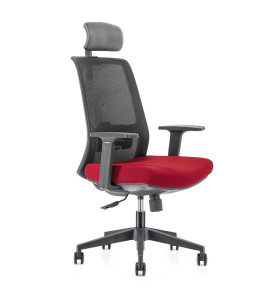 High Back office Mesh Executive Chair with Nylon base,PP Armrest,Height adjustable headrest(YF-GA10-Red)