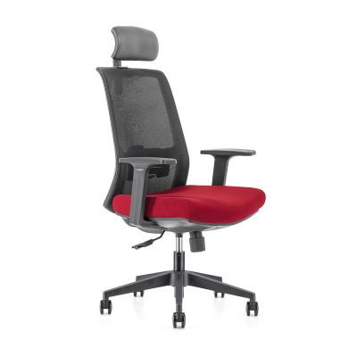 Chaise de direction en maille à dossier haut avec base en nylon, accoudoir en PP, appui-tête réglable en hauteur (YF-GA10-Red)