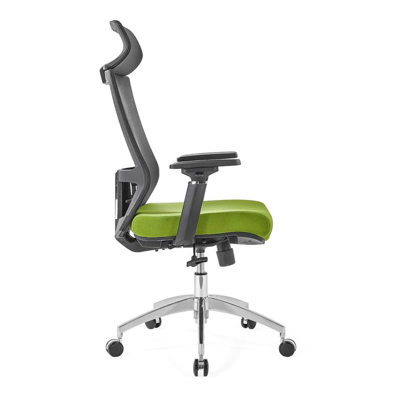 Chaise de direction en maille à dossier haut avec base en aluminium de 350 mm, accoudoir 4D, appui-tête réglable en hauteur (YF-GA12-vert)