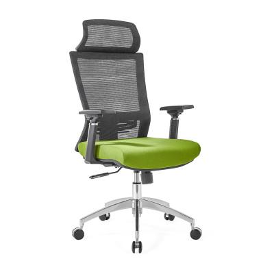 Chaise de bureau en maille à dossier haut avec base en aluminium, accoudoir 4D, appui-tête réglable en hauteur (YF-GA12-Green)
