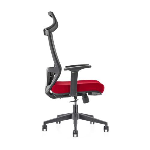 Silla ejecutiva de malla de oficina con respaldo alto al por mayor, base de nylon, reposabrazos de PP, reposacabezas ajustable en altura (YF-GA12-Red)